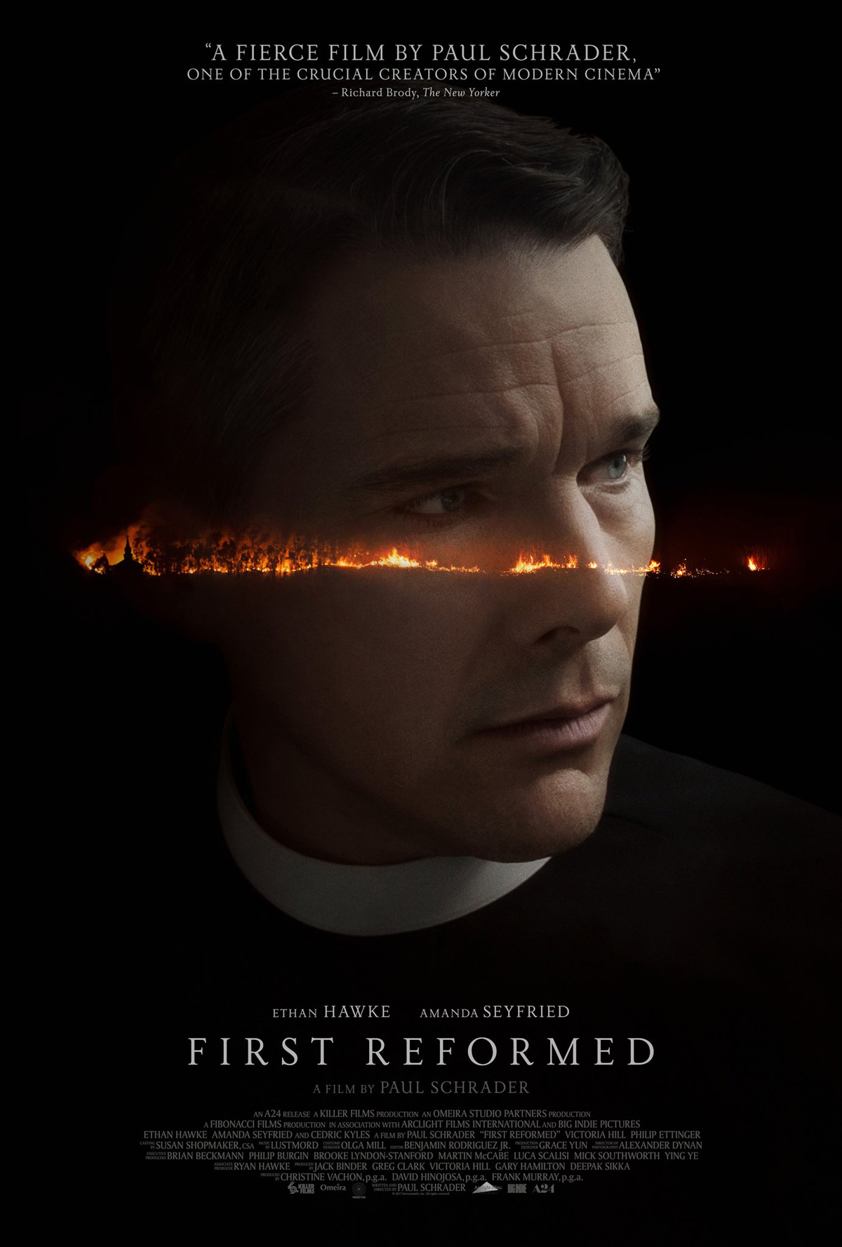 First Reformed (2017) - Directed by: Paul SchraderStarring: Ethan Hawke, Amanda Seyfried, Cedric (The Entertainer) KylesRated: RRunning Time: 1h 53mTMM Score: 5 stars out of 5 (I loved it)STRENGTHS: Acting, Subject Matter, Meditative PaceWEAKNESSES: None