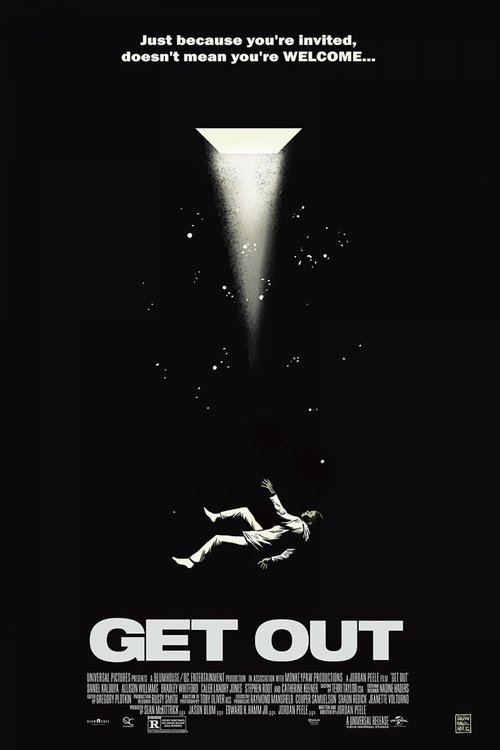 Get Out (2017) - DIRECTED BY: JORDAN PEELESTARRING: DANIEL KALUUYA, ALLISON WILLIAMS, BRADLEY WHITFORD, CATHERINE KEENER, CALEB LANDRY JONESRATING: R FOR VIOLENCE, BLOODY IMAGES, AND LANGUAGE INCLUDING SOME SEXUAL REFERENCESRUNNING TIME: 1 HOUR 44 MINTMM: 4.5 OUT OF 5 STARSSTRENGTHS: TIMELINESS, WRITING, ACTING, UNCONVENTIONALITY, MESSAGEWEAKNESSES: LACK OF SCARES FOR GENRE-HARDENED FANS