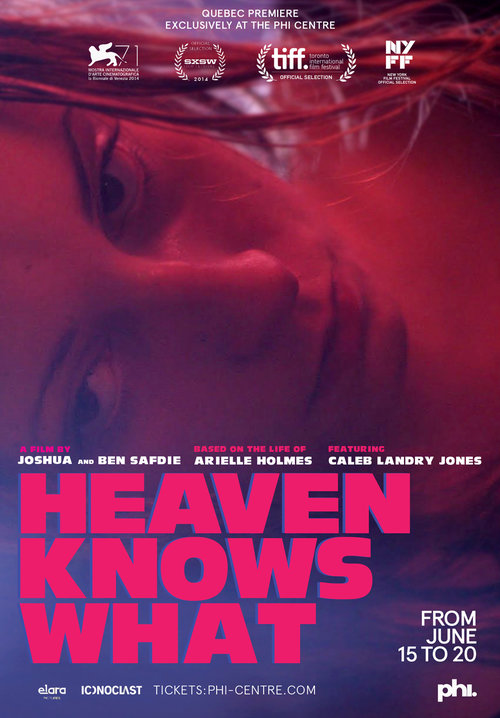 HEAVEN KNOWS WHAT (2014) - DIRECTED BY: BENNY AND JOSH SAFDIESTARRING: ARIELLE HOLMES, CALEB LANDRY JONES, BUDDY DURESSRATING: R FOR DRUG USE THROUGHOUT, PERVASIVE LANGUAGE, DISTURBING AND VIOLENT IMAGES, SEXUALITY, AND GRAPHIC NUDITYRUNNING TIME: 1 HOUR 37 MINTMM: 4 OUT OF 5 STARSSTRENGTHS: ACTING, WRITING, DIRECTING, CINEMATOGRAPHYWEAKNESSES: SUBJECT MATTER WILL DISTURB SOME VIEWERS