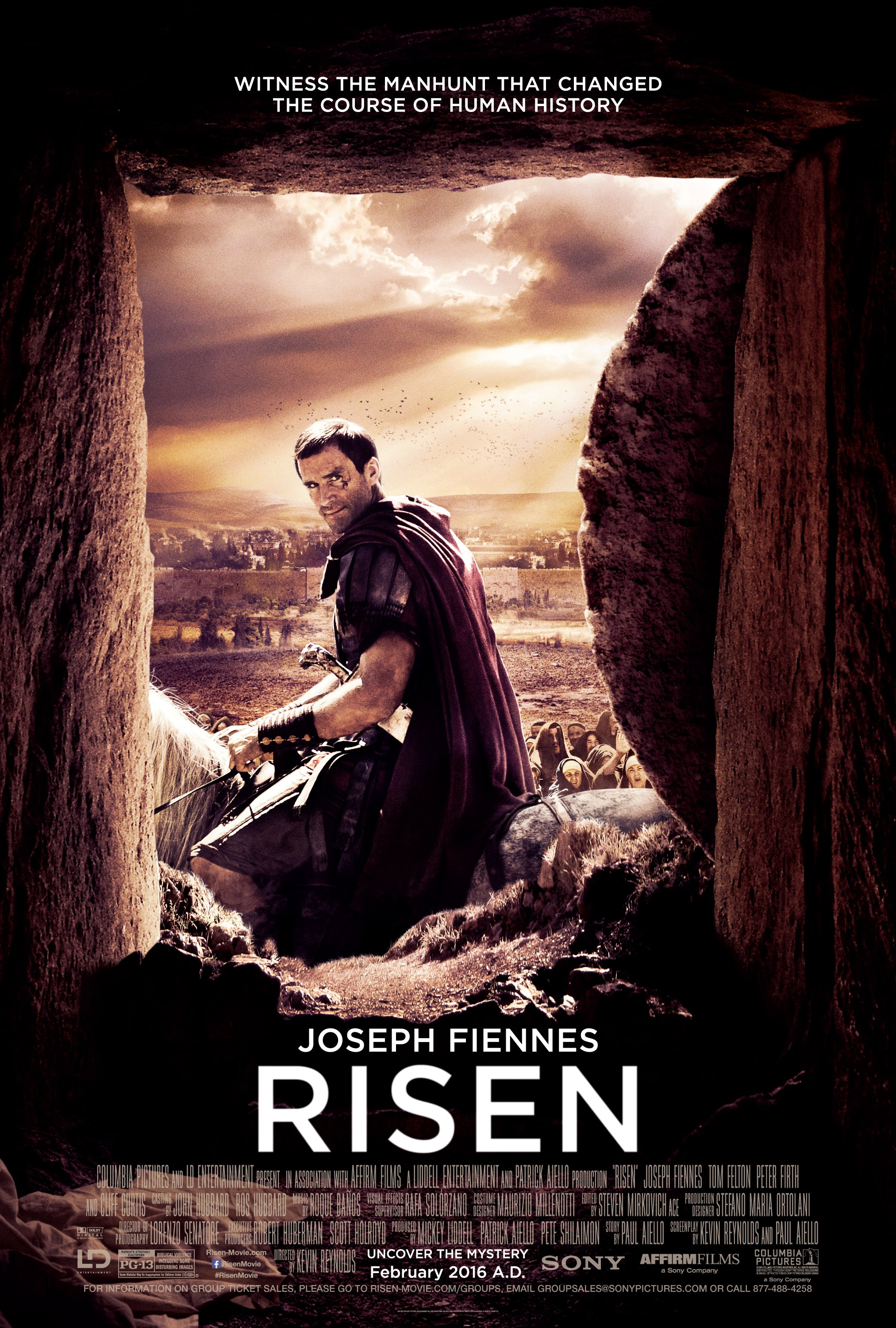 Risen (2016) - Directed by: Kevin ReynoldsStarring: Joseph Fiennes, Tom Felton, Peter FirthRated: PG-13 for Biblical Violence Including Some Disturbing ImagesTMM: 3 Stars out of 5Strengths: Production Value, Joseph FiennesWeaknesses: Disjointed Story, Stephen Hagan