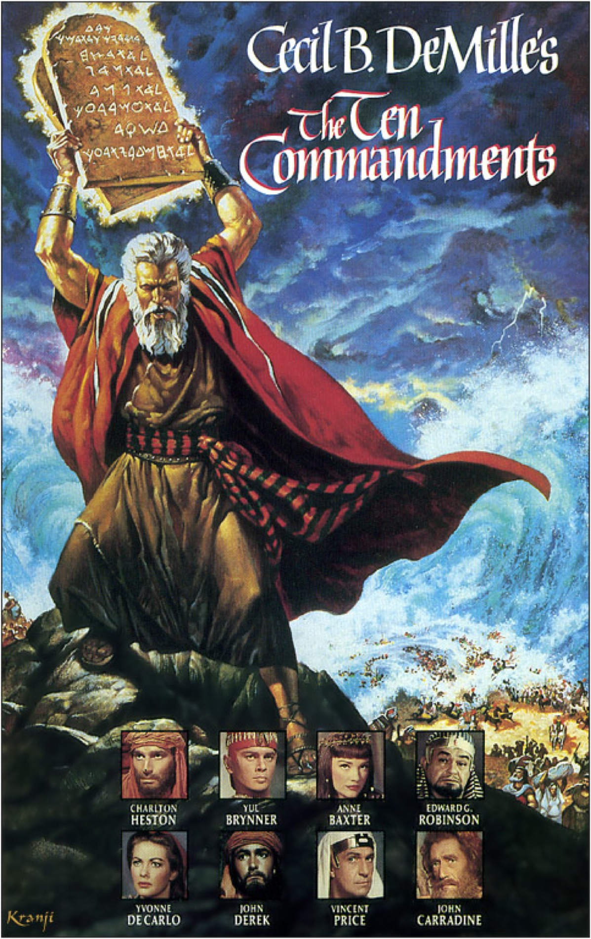 The Ten Commandments (1956) - Directed By: Cecil B DeMilleStarring: Charlton Heston, Yul Brynner, Anne BaxterRated: GRunning Time: 3 h 40 mTMM: 4 out of 5 StarsStrengths: Production Design, Effects, ActingWeaknesses: Length, Dialogue, Also Acting