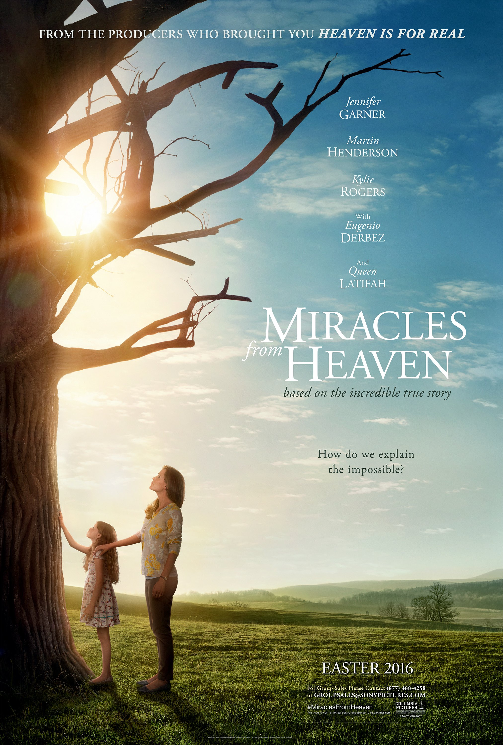 Miracles from Heaven (2016) - Directed By: Patricia RiggenStarrring: Jennifer Garner, Kylie Rogers, Martin HendersonRated: PG for Thematic Material, Including Accident and Medical ImagesRunning Time: 1 H 49 MTMM: 3 out of 5 StarsStrengths: Acting, Portrayal of Christian Life, Non-Preachy Scenes, Heightening of StakesWeaknesses: Marketing, Manufactured Happiness, Preachy Scenes