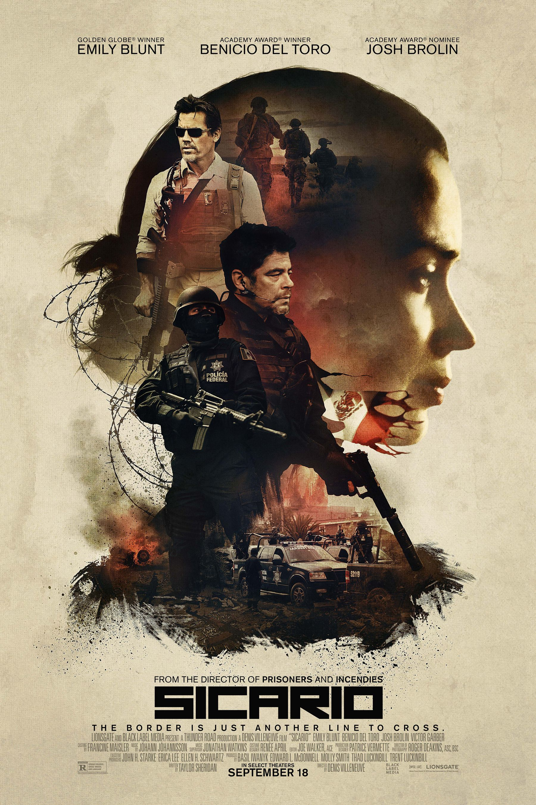 Sicario (2015) - Directed by: Denis VilleneuveStarring: Emily Blunt, Benicio Del Toro, Josh Brolin, Daniel KaluuyaRated: R for strong violence, grisly images, and languageRunning Time: 2 h 1 mTMM Score: 5 stars out of 5STRENGTHS: writing, directing, acting, cinematography, soundtrack, pacingWEAKNESSES: -