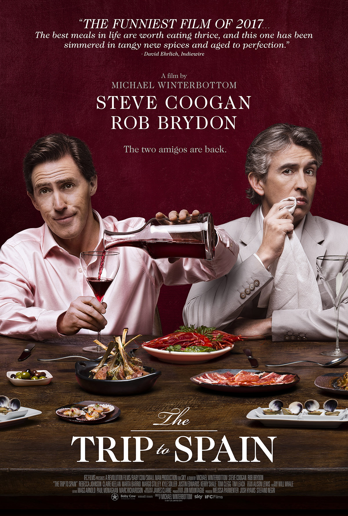 The Trip to Spain (2017) - Directed by: Michael WinterbottomStarring: Steve Coogan, Rob BrydonRated: Running Time: 1 h 48 mTMM Score: 3.5 stars out of 5STRENGTHS: Humor, Cinematography, 'Writing'WEAKNESSES: Pacing, Some Jokes/Gags