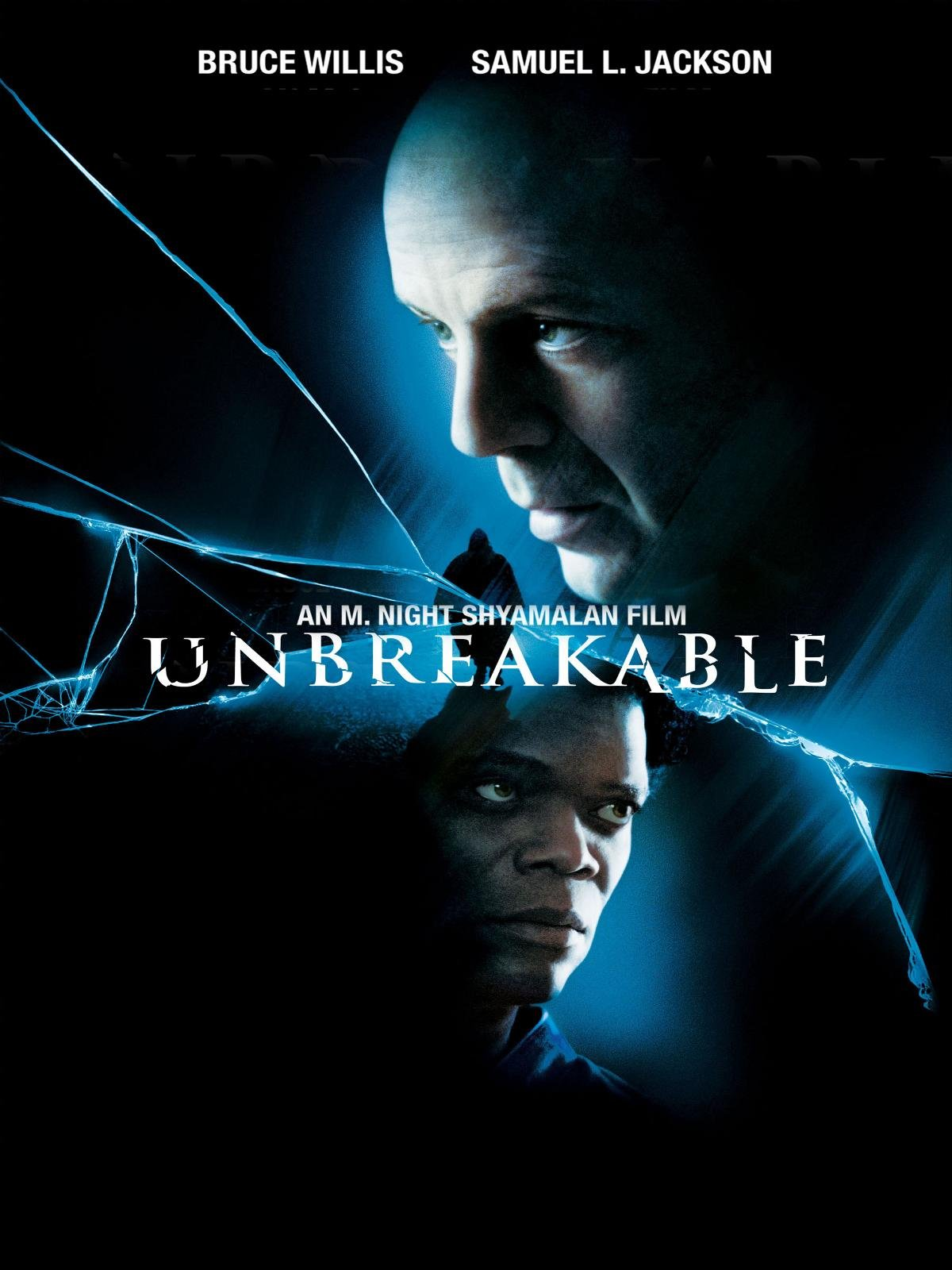 Unbreakable (2000) - Directed by: M. Night ShyamalanStarring: Bruce Willis, Samuel L. Jackson, Robin WrightRated: Running Time: 1 h 46 mTMM Score: 3.5 stars out of 5STRENGTHS: Writing, Cinematography, SubtletyWEAKNESSES: Moments of Melodrama, Heavy-Handed Directing