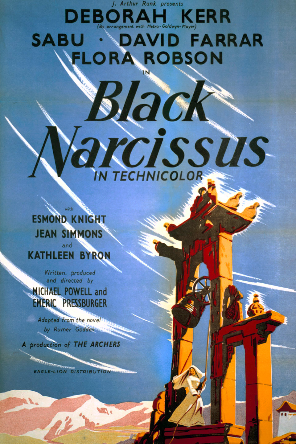 Black Narcissus (1947) - Directed by: Michael Powell, Emeric PressburgerStarring: Deborah Kerr, David Farrar, Kathleen Byron, Jenny Laird, May HallatRated: NR (Suggested PG for Some Thematic Elements)Running Time: 1 h 41 mTMM Score: 4.5 stars out of 5STRENGTHS: Cinematography, Production Design, WritingWEAKNESSES: Mild Moments of Melodrama, May Hallatt