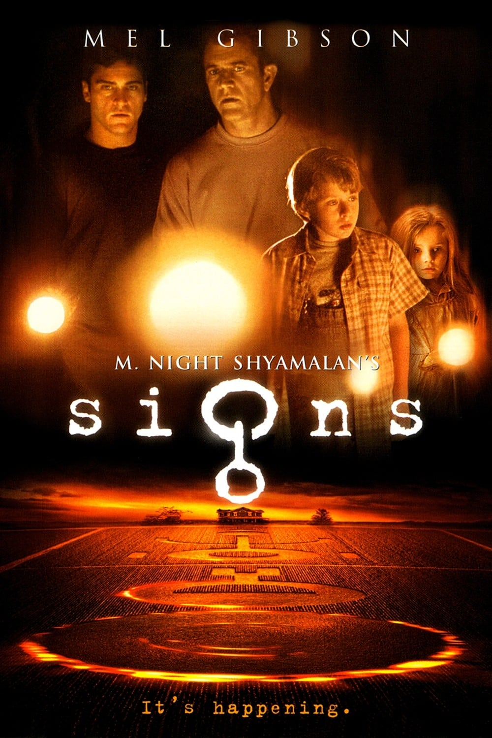 Signs (2002) - Directed by: M. Might ShyamalanStarring: Mel Gibson, Joaquin Phoenix, Rory Culkin, Abigail BreslinRated: PG13Running Time: 1h 46mTMM Score: 4 stars out of 5STRENGTHS: Theme, Acting, StorytellingWEAKNESSES: Heavy Handedness