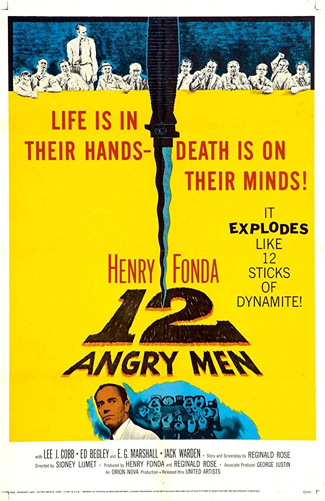 12 Angry Men (1957) - Directed by: Sidney LumetStarring: Henry Fonda, Lee J. Cobb, Martin BalsamRated: ApprovedRunning Time: 1 h 36 mTMM Score: 5 stars out of 5STRENGTHS: Writing, Directing, Cinematography, ActingWEAKNESSES: -