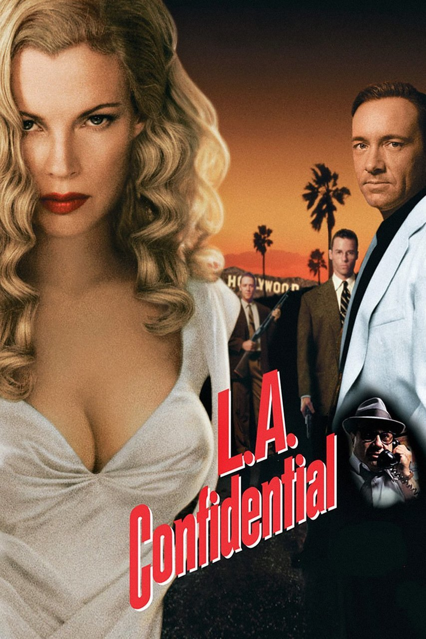 L.A. Confidential (1997) - Directed by: Curtis HansonStarring: Kevin Spacey, Russell Crowe, Guy Pearce, Kim Basinger, James Cromwell, Danny DeVitoRated: RRunning Time: 2h 18mTMM Score: 5 stars out of 5STRENGTHS: Cinematography, Acting, StoryWEAKNESSES: None