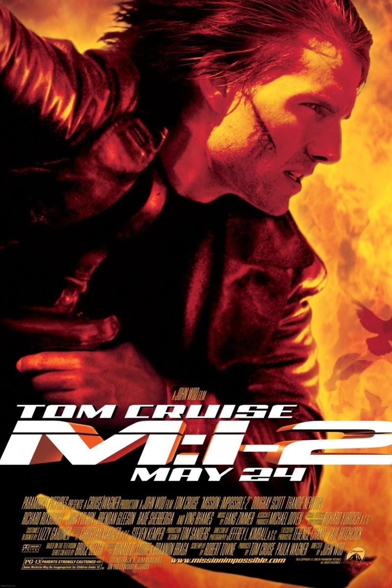 Mission: Impossible II (2000) - Directed by: John WooStarring: Tom Cruise, Thandie Newton, Dougray ScottRated: PG-13 for Intense Sequences of Violent Action and Some SensualityRunning Time: 2 h 3 mTMM Score: 1.5 stars out of 5STRENGTHS: ConceptWEAKNESSES: Cheesiness, Writing, Directing