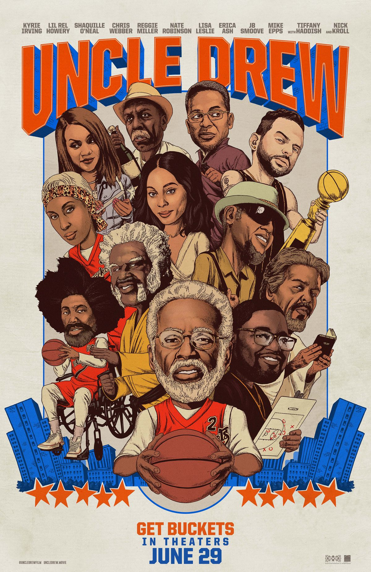 Uncle Drew (2018) - Directed by: Charles Stone IIIStarring: Kyrie Irving, Lil Rel Howery, Shaquille O'NealRated: PG-13 for Suggestive Material, Language and Brief NudityRunning Time: 1 h 43 mTMM Score: 1.5 stars out of 5STRENGTHS: It Knows It's StupidWEAKNESSES: It's Stupid, One-Note Joke, Predictable Script