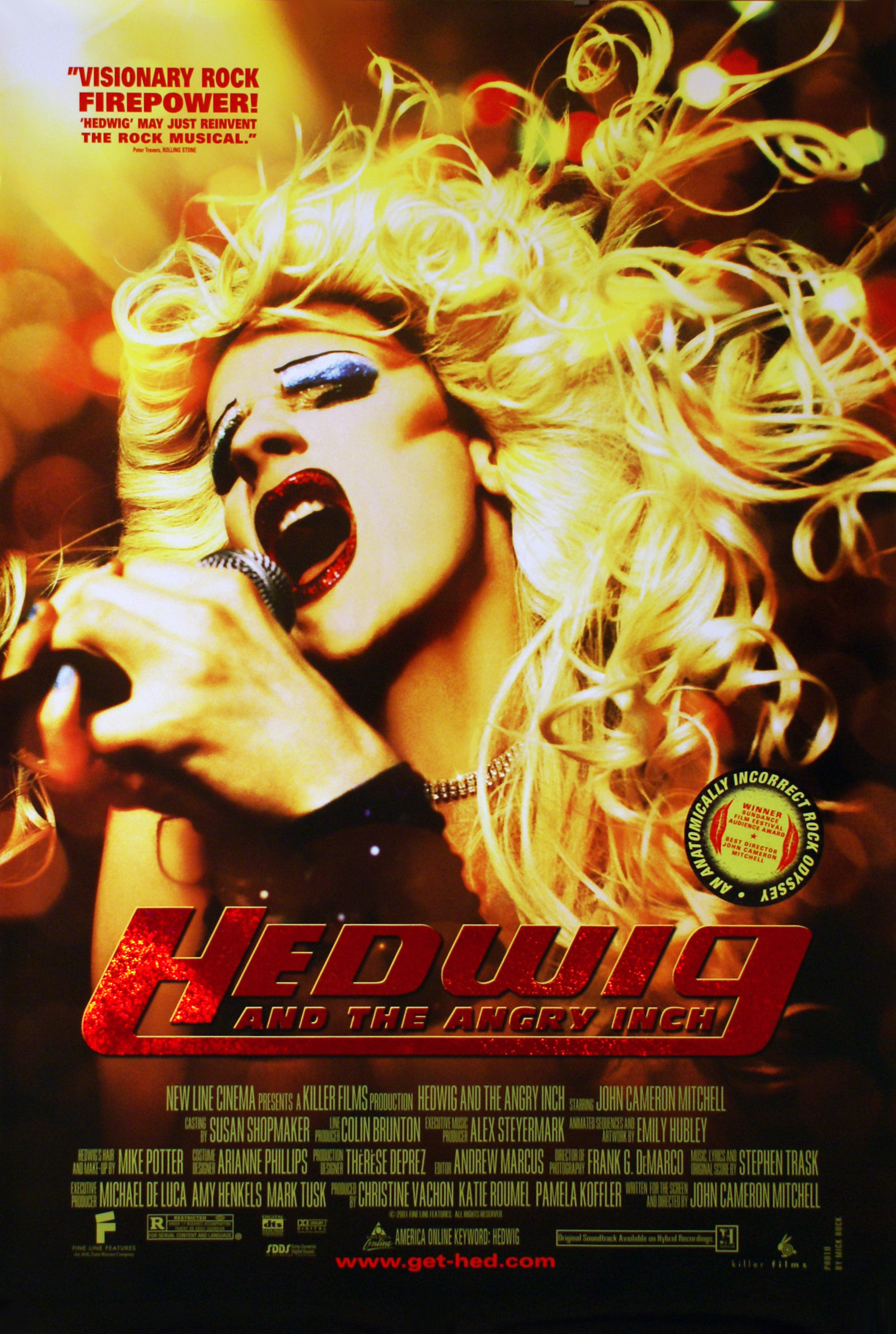 Hedwig and the Angry Inch (2001) - Directed by: John Cameron MitchellStarring: John Cameron Mitchell, Miriam Shor, Michael PittRated: R for Sexual Content and LanguageRunning Time: 1 h 35 mTMM Score: 4.5 stars out of 5STRENGTHS: Soundtrack, Writing, ActingWEAKNESSES: Subject Matter Will Turn Away Some Viewers