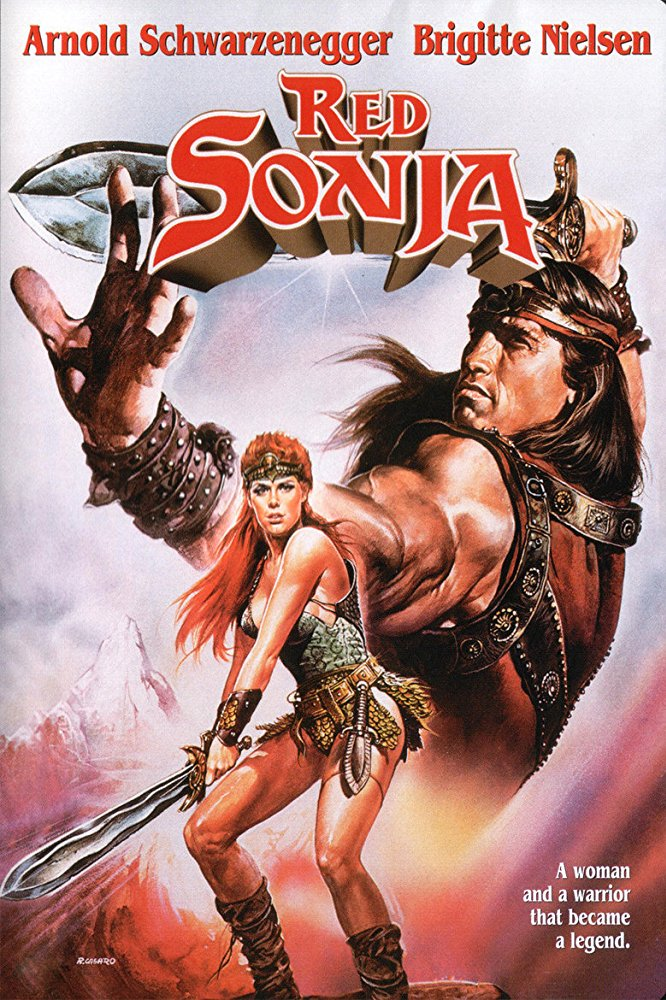 Red Sonja (1985) - Directed by: Richard FleischerStarring: Brigitte Nielsen, Arnold Schwarzenegger, Sandahl BergmanRated: PG-13Running Time: 1 h 29 mTMM Score: 1 stars out of 5STRENGTHS: Production Design, Practical EffectsWEAKNESSES: Literally Everything Else