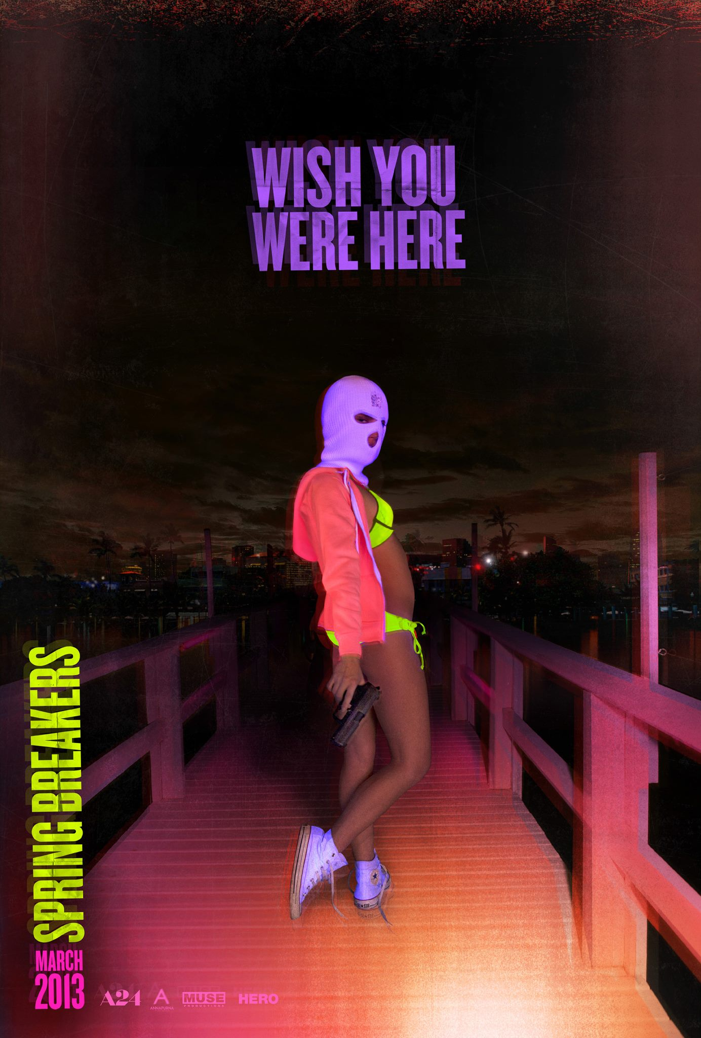Spring Breakers (2012) - Directed by: Harmony KorineStarring: Vanessa Hudgens, Selena Gomez, James Franco, Ashley Benson, Rachel KorineRated: RRunning Time: 1h 34mTMM Score: 5 stars out of 5STRENGTHS: Editing, Lighting, EnergyWEAKNESSES: Extreme Content