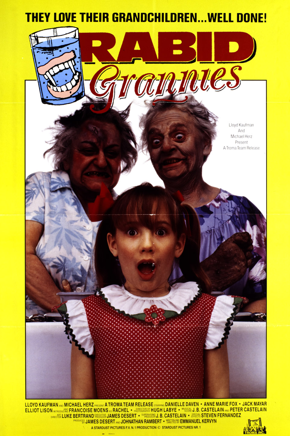 Rabid Grannies (1988) - Directed by: Emmanuel KervynStarring: Catherine Aymerie, Caroline Braeckman, Richard CoticaRated: RRunning Time: 1 h 29 mTMM Score: 2 stars out of 5STRENGTHS: Some Humor, Some EffectsWEAKNESSES: Pacing, Writing, Characters, Dialogue
