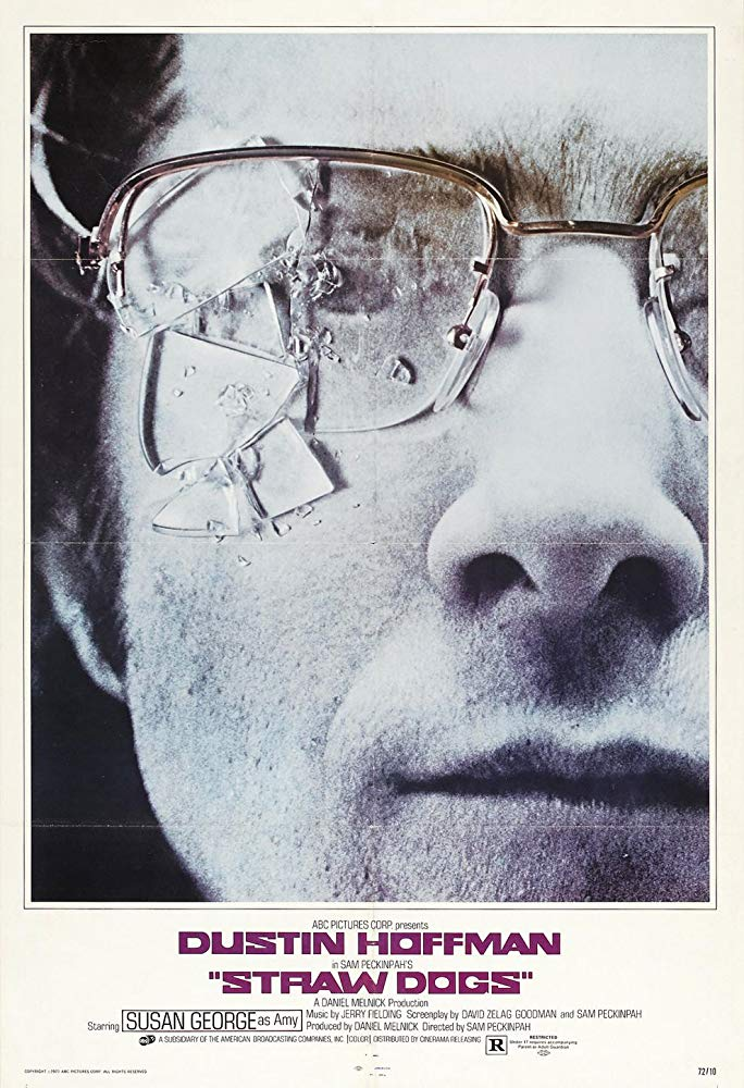 Straw Dogs (1971) - Directed by: Sam PeckinpahStarring: Dustin Hoffman, Susan George, Peter VaughnRated: R for Strong Brutal Violence Including a Sexual Attack, Menace, Some Sexual Content, and Pervasive LanguageRunning Time: 1 h 58 mTMM Score: 4 stars out of 5STRENGTHS: Writing, Pacing, Acting, Directing, Editing, CharactersWEAKNESSES: Uncomfortable Controversial Material