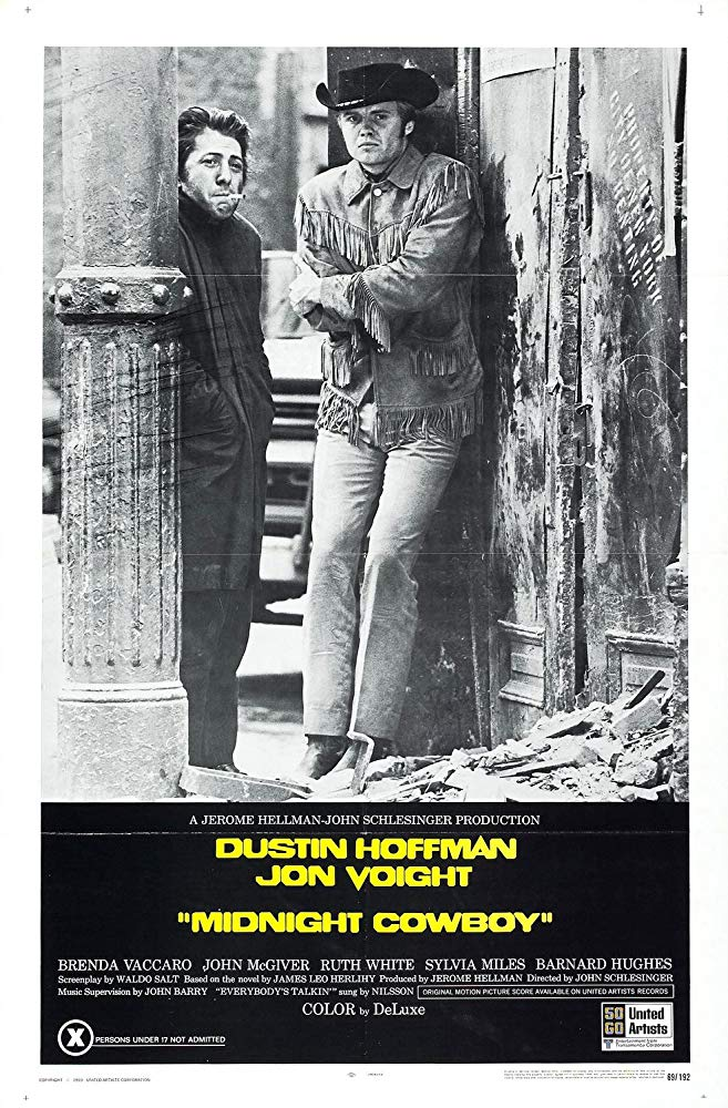 Midnight Cowboy (1969) - Directed by: John SchlesingerStarring: Dustin Hoffman, Jon VoightRated: RRunning Time: 1 h 53 mTMM Score: 3.5 stars out of 5STRENGTHS: Acting, Writing, Creative Dream/Fantasy SequencesWEAKNESSES: Failed to Engage Me Emotionally