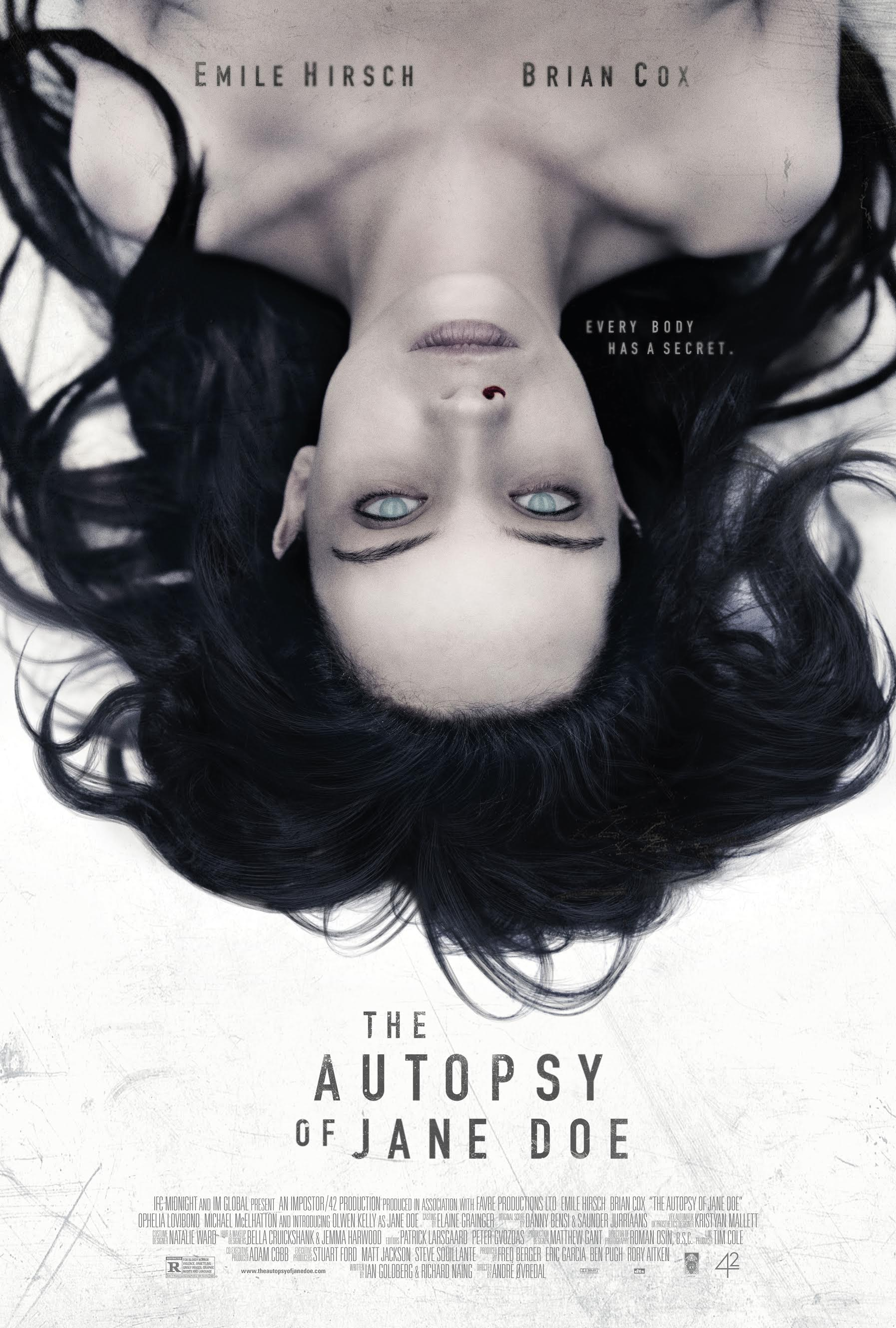 The Autopsy of Jane Doe (2016) - Directed by: Andre OvredalStarring: Brian Cox, Emile Hirsch, Ophelia LovibondRated: R for Bloody Horror Violence, Unsettling Grisly Images, Graphic Nudity, and LanguageRunning Time: 1 h 26 mTMM Score: 3 stars out of 5STRENGTHS: Brian Cox, Effects, Atmosphere, Simplicity of StoryWEAKNESSES: Emile Hirsch, Some Dialogue