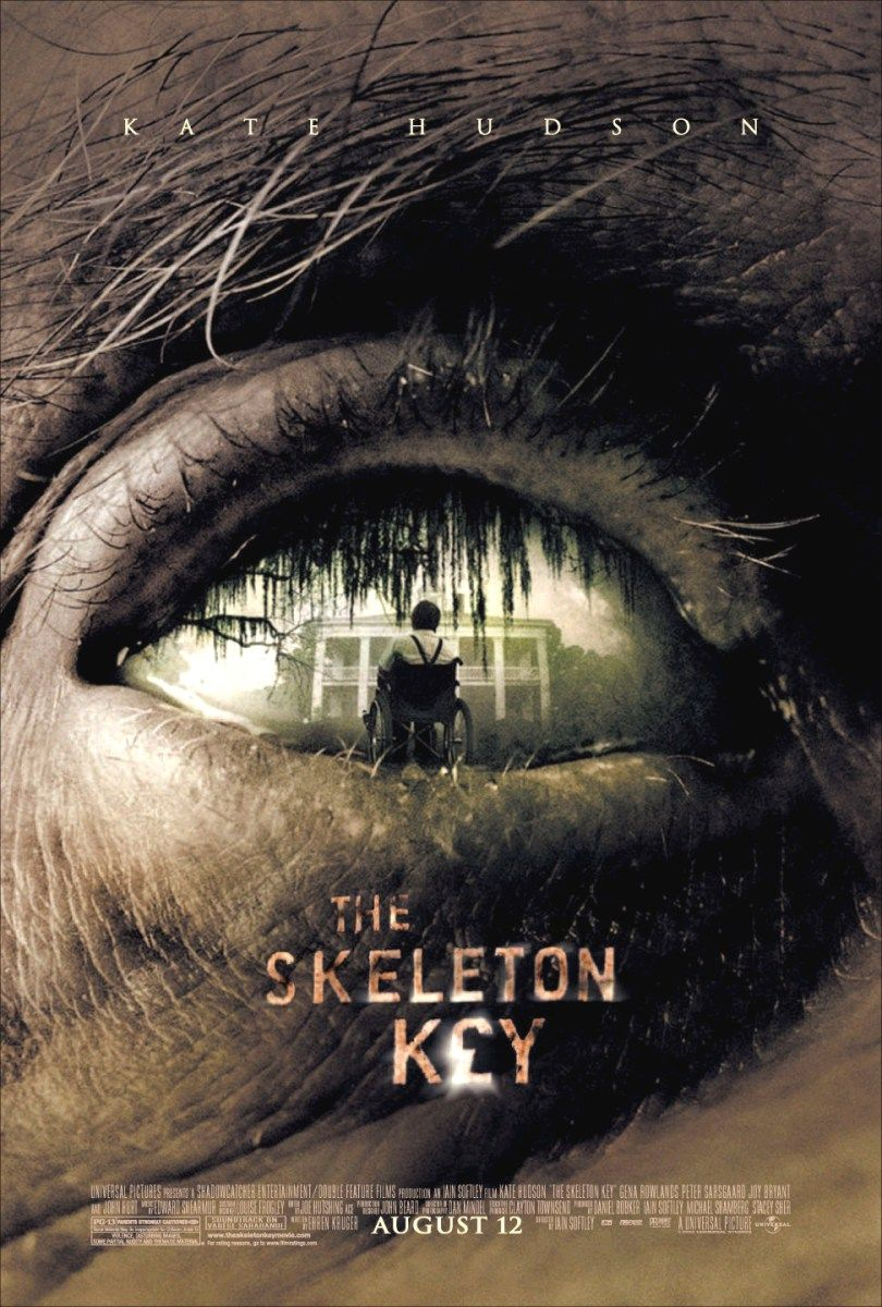 The Skeleton Key (2005) - Directed by: Iain SoftleyStarring: Kate Hudson, Peter Sarsgaard, John Hurt, Gena RowlandsRated: PG-13 for Violence, Disturbing Images, Some Partial Nudity and Thematic MaterialRunning Time: 1 h 44 mTMM Score: 2 stars out of 5STRENGTHS: Creepy Imagery, Cool LocationsWEAKNESSES: Acting, Pacing, Editing, Writing