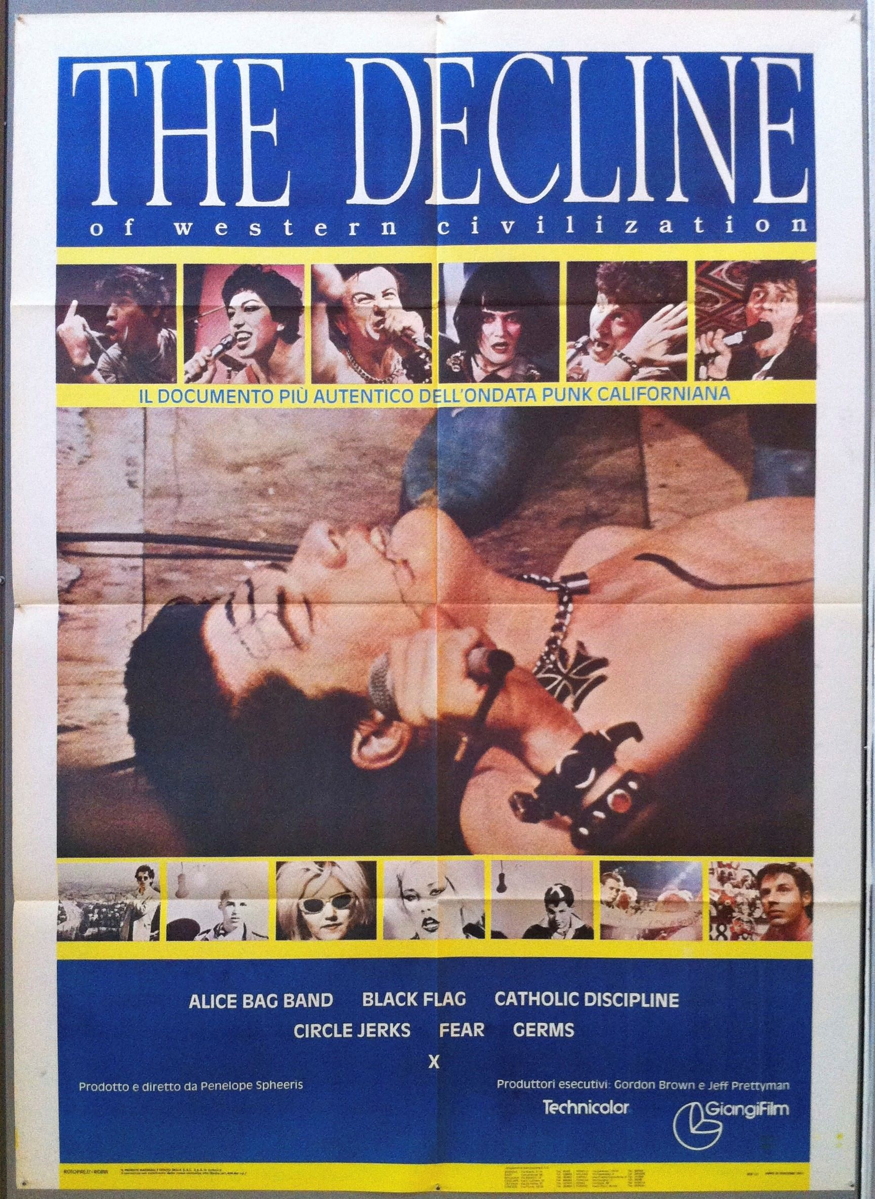 The Decline of Western Civilization (1981) - Directed by: Penelope SpheerisStarring: Alice Bag Band, Black Flag, Catholic Discipline, Circle Jerks, Fear, The Germs, XRated: NR (Suggested R for Pervasive Language and Real Depictions of Destructive Behavior)Running Time: 1 h 40 mTMM Score: 4.5 stars out of 5STRENGTHS: Story, DirectionWEAKNESSES: Nihilistic View, Content
