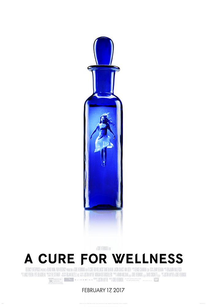 A Cure for Wellness (2016) - Directed by: Gore VerbinskiStarring: Dane Dehaan, Jason Isaacs, Mia GothRated: R for Disturbing Violent Content and Images, Sexual Content Including an Assault, Graphic Nudity, and LanguageRunning Time: 2 h 26 mTMM Score: 2 stars out of 5STRENGTHS: Production Design, Cinematography, SoundtrackWEAKNESSES: Acting, Pacing, Dialogue, Length