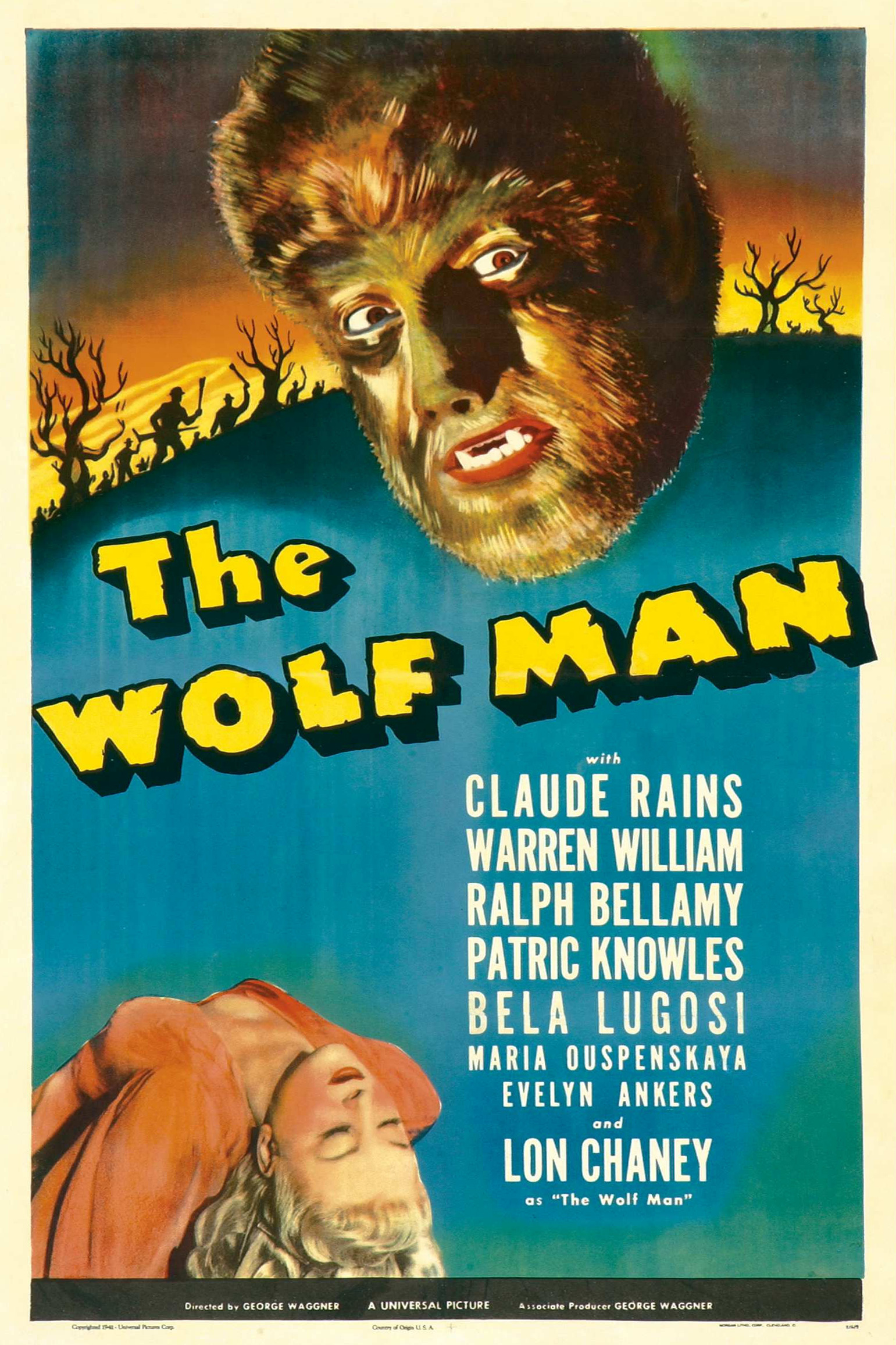 The Wolf Man (1941) - Directed by: George WaggnerStarring: Lon Chaney Jr., Claude Rains, Evelyn Ankers, Warren William, Bela LugosiRated: NR (Suggested PG for Some Scary Moments and Mild Violence)Running Time: 1 h 10 mTMM Score: 4 stars out of 5STRENGTHS: Moral Dilemma, Production Design, Old Hollywood Charm, PacingWEAKNESSES: Theatricality and Melodrama