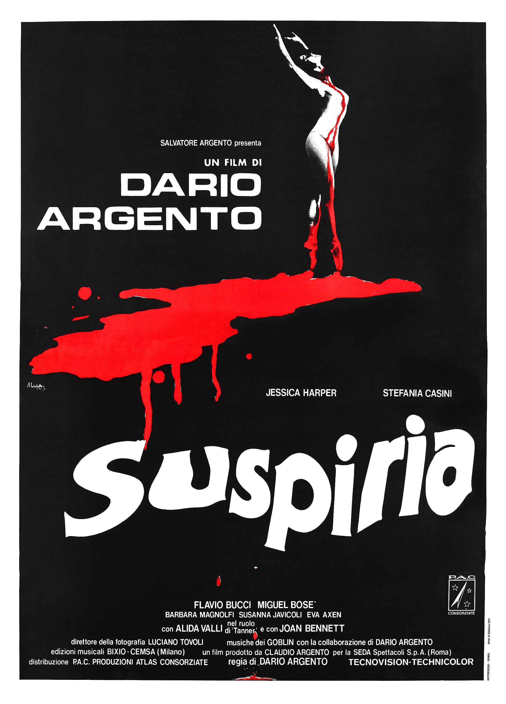 Suspiria (1977) - Directed by: Dario ArgentoStarring: Jessica Harper, Stefania Casini, Flavio Bucci, Udo KierRated: RRunning Time: 1 h 38 mTMM Score: 5 stars out of 5STRENGTHS: Directing, Music, Atmosphere, Giallo Goodness, Production Design, Color UsageWEAKNESSES: -