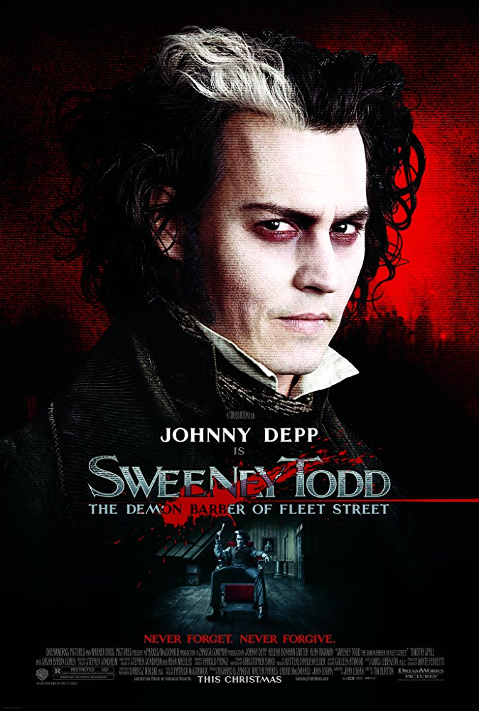 Sweeney Todd: The Demon Barber of Fleet Street (2007) - Directed by: Tim BurtonStarring: Johnny Depp, Helena Bonham Carter, Alan Rickman, Timothy Spall, Sacha Baron CohenRated: R for Graphic Bloody ViolenceRunning Time: 1 h 56 mTMM Score: 5 stars out of 5STRENGTHS: Art Direction, Music, Acting, Story, Dark HumorWEAKNESSES: -