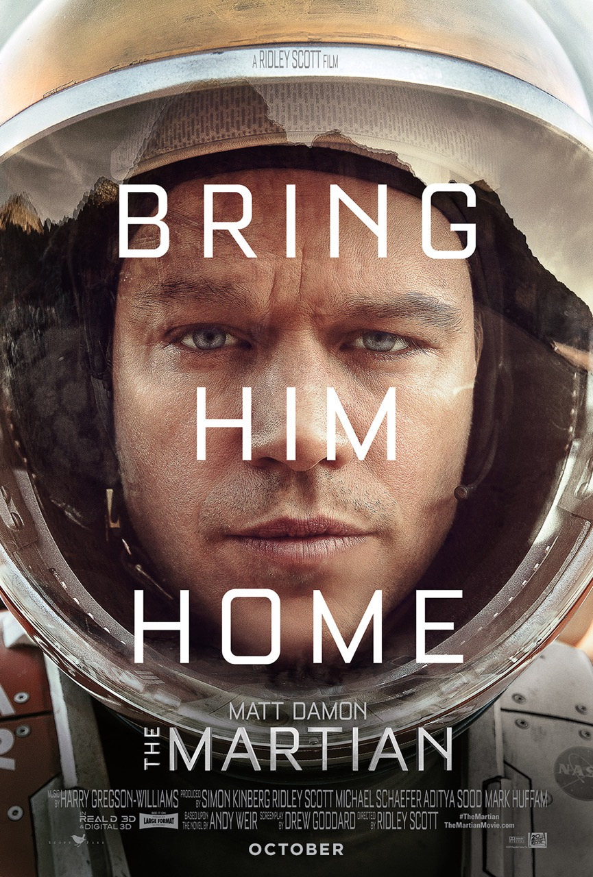The Martian (2015) - Directed by: Ridley ScottStarring: Matt Damon, Jessica Chastain, Jeff Daniels, Michael Pena, Kate Mara, Sebastian Stan, Chiwetel Ejiofor, Benedict Wong, Kristen Wiig, Sean Bean, Mackenzie Davis, Donald Glover, Aksel HennieRated: PG-13 or Some Strong Language, Injury Images, and Brief NudityRunning Time: 2 h 24 mTMM Score: 4 stars out of 5STRENGTHS: Acting, Visual Effects, Story ThemesWEAKNESSES: Some Farfetched Cheesy Moments