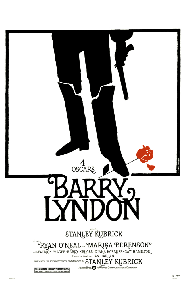 Barry Lyndon (1975) - Directed by: Stanley KubrickStarring: Ryan O'Neal, Marisa Berenson, Patrick MageeRated: PGRunning Time: 3 h 5 mTMM Score: 4.5 stars out of 5STRENGTHS: Mise-En-Scene, Cinematography, Writing, Acting, DirectingWEAKNESSES: Length, Pacing During Second Act
