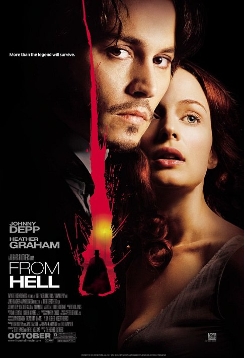 From Hell (2001) - Directed by: Albert Hughes, Allen HughesStarring: Johnny Depp, Heather Graham, Ian HolmRated:R for Strong Violence/Gore, Sexuality, Language and Drug ContentRunning Time: 2 h 2 mTMM Score: 3.5 stars out of 5STRENGTHS: Story, Production Design, Atmosphere, Some CinematographyWEAKNESSES: Cheap Thrill Moments, Some Awkward Scenes, Color Grading