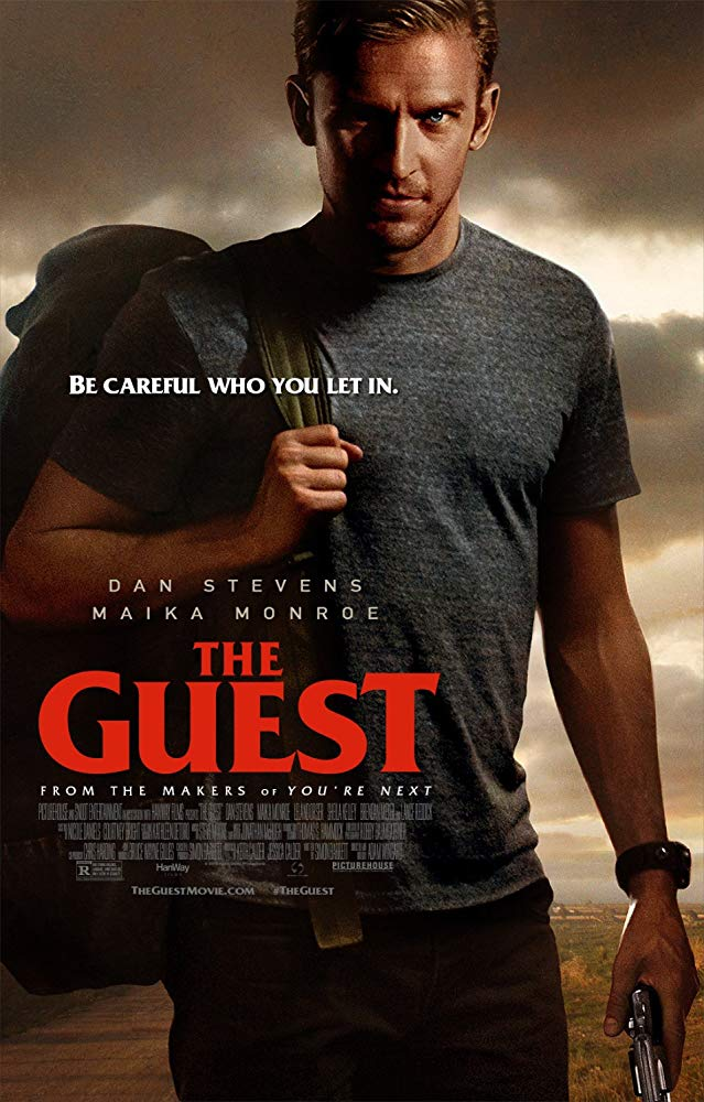 The Guest (2014) - Directed by: Adam WingardStarring: Dan Stevens, Maika Monroe, Brendan Meyer, Lance Reddick, Sheila KelleyRated: R for Strong Violence, Language, Some Drug Use and A Scene of SexualityRunning Time: 1 h 40 mTMM Score: 3.5 stars out of 5STRENGTHS: Acting, Writing, Soundtrack, SimplicityWEAKNESSES: Predictable, Some Stupid Character Choices