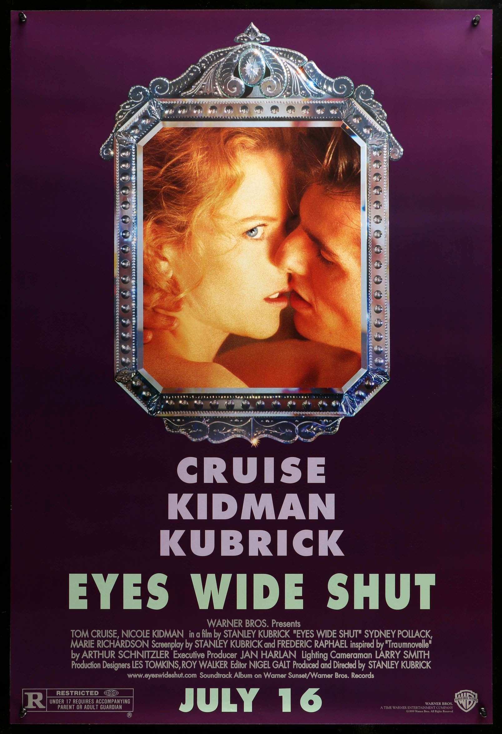 Eyes Wide Shut (1999) - Directed by: Stanley KubrickStarring: Tom Cruise, Nicole Kidman, Todd Field, Sydney PollackRated: R for Strong Sexual Content, Nudity, Language and Some Drug-Related MaterialRunning Time: 2 h 39 mTMM Score: 4 stars out of 5STRENGTHS: Directing, Cinematography, Writing, Some ActingWEAKNESSES: Some Acting, Length and Pacing, Climaxes Too Early