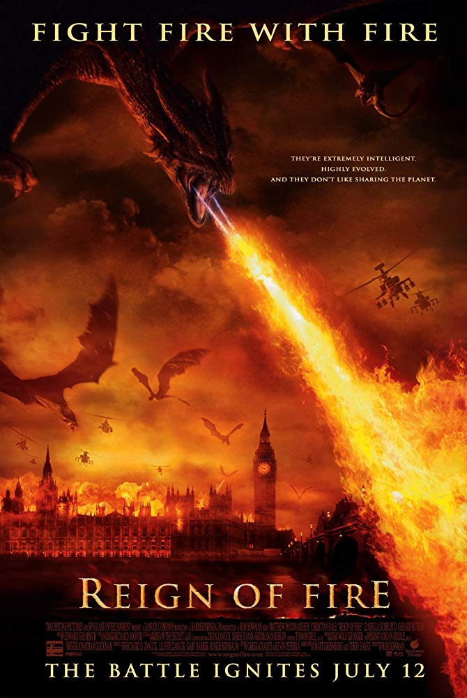Reign of Fire (2002) - Directed by: Rob BowmanStarring: Christian Bale, Matthew McConaughey, Izabella Scorupco, Gerard ButlerRated: PG-13 for Intense Action ViolenceRunning Time: 1 h 41 mTMM Score: 3 stars out of 5STRENGTHS: Concept, First and Second Acts, Acting, Some VisualsWEAKNESSES: Third Act, Stupid Character Choices, Unbelievable Coincidences, Some Visuals