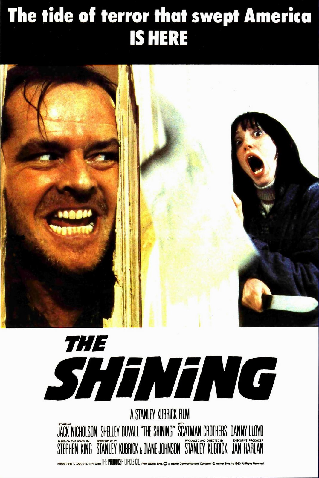 The Shining (1980) - Directed by: Stanley KubrickStarring: Jack Nicholson, Shelley Duvall, Danny Lloyd, Scatman CrothersRated: RRunning Time: 2 h 26 mTMM Score: 5 stars out of 5STRENGTHS: Directing, Writing, Acting, Cinematography, AtmosphereWEAKNESSES: -