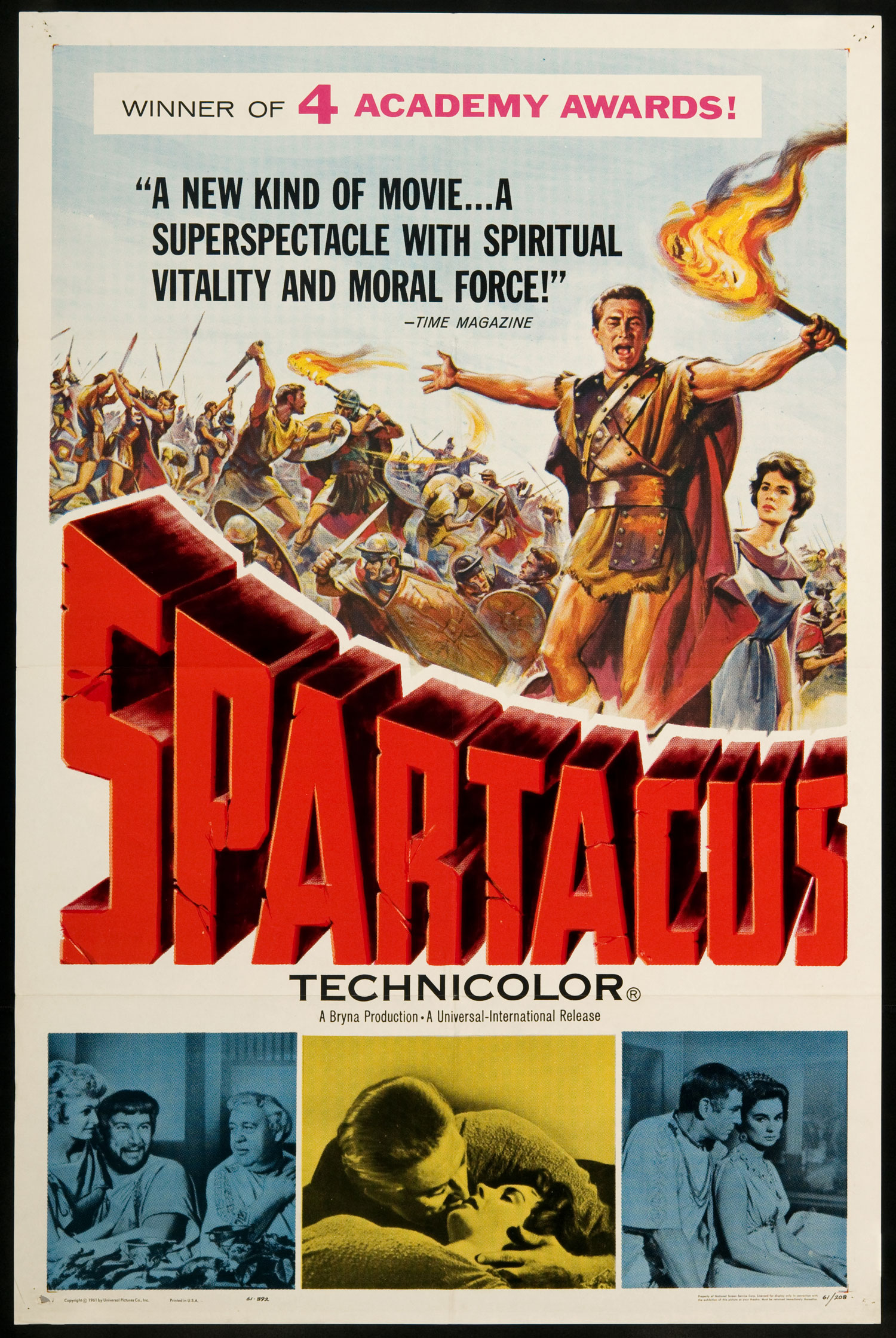 Spartacus (1960) - Directed by: Stanley KubrickStarring: Kirk Douglas, Jean Simmons, Laurence Olivier, Charles Laughton, Peter UstinovRated: PG13Running Time: 3hrs 17minTMM Score: 5 StarsSTRENGTHS: Epic Scale, ThemesWEAKNESSES: None
