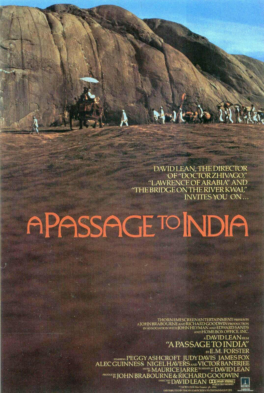 A Passage to India (1984) - Directed by: David LeanStarring: Judy Davis, Victor Banerjee, Peggy Ashcroft, James Fox, Alec GuinnessRated: PGRunning Time: 2 h 44 mTMM Score: 3 stars out of 5STRENGTHS: Cinematography, Production Design, Acting, DirectingWEAKNESSES: Cultural Appropriation, Pacing