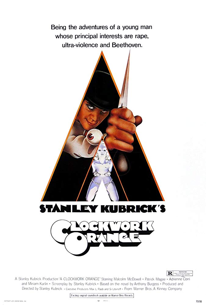A Clockwork Orange (1971) - Directed by: Stanley KubrickStarring: Malcolm McDowell, Patrick Magee, Michael BatesRated: RRunning Time: 2 h 16 mTMM Score: 5 stars out of 5STRENGTHS: Direction, Story, Irony, Writing, Production DesignWEAKNESSES: Content, Some Acting (?)