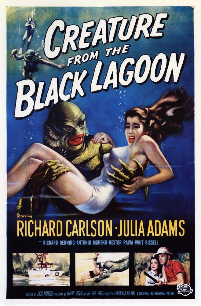 Creature from the Black Lagoon (1954) - Directed by: Jack ArnoldStarring: Richard Carlson, Whit Bissell, Julie Adams, Richard Denning, Ricou Browning, Ben Chapman, Antonio MorenoRated: GRunning Time: 1 h 19 mTMM Score: 4 stars out of 5STRENGTHS: Story, Cinematography, Creature Design, Old Hollywood CharmWEAKNESSES: Some Melodramatic Moments