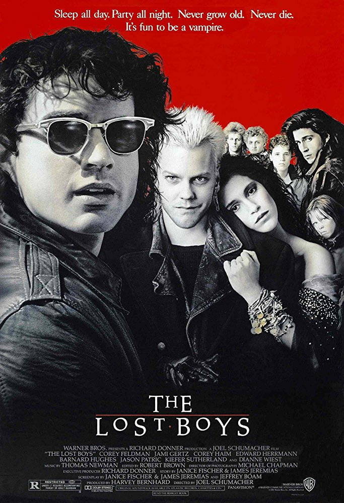 The Lost Boys (1987) - Directed by: Joel SchumacherStarring: Jason Patric, Corey Haim, Edward Herrmann, Kiefer Sutherland, Corey Feldman, Dianne Wiest, Jamison NewlanderRated: RRunning Time: 1 h 37 mTMM Score: 2.5 stars out of 5STRENGTHS: Some Humor, Some ActionWEAKNESSES: It's Silly but Thinks Its Cool, Doesn't Follow its Own Rules