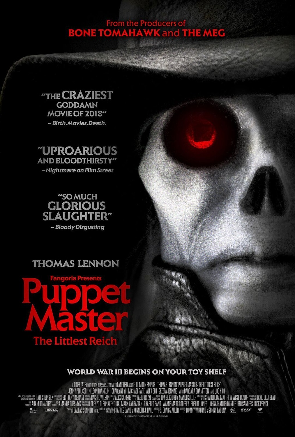 Puppet Master: The Littlest Reich (2018) - Directed by: Sonny Lennon, Tommy WiklundStarring: Thomas Lennon, Nelson Franklin, Jenny Pellicer, Charlyne YiRated: NR (Suggested R for Strong Graphic Violence, Sexual Content and Nudity, and Language- All Involving Puppets)Running Time: 1 h 30 mTMM Score: 2 stars out of 5STRENGTHS: Puppets, Practical Effect, ConceptWEAKNESSES: Writing, Acting, Story, Tone