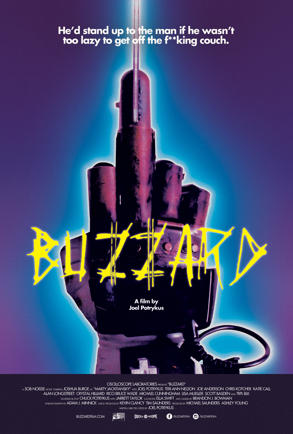 Buzzard (2014) - Directed by: Joel PortykusStarring: Joshua Burge, Joel Potrykus, Joe AndersonRated: NR (Suggest R for Some Language and a Scene of Mild Violence)Running Time: 1 h 37 mTMM Score: 4.5 stars out of 5STRENGTHS: Acting, Writing, OriginalityWEAKNESSES: Last Scene (?), Some Makeup