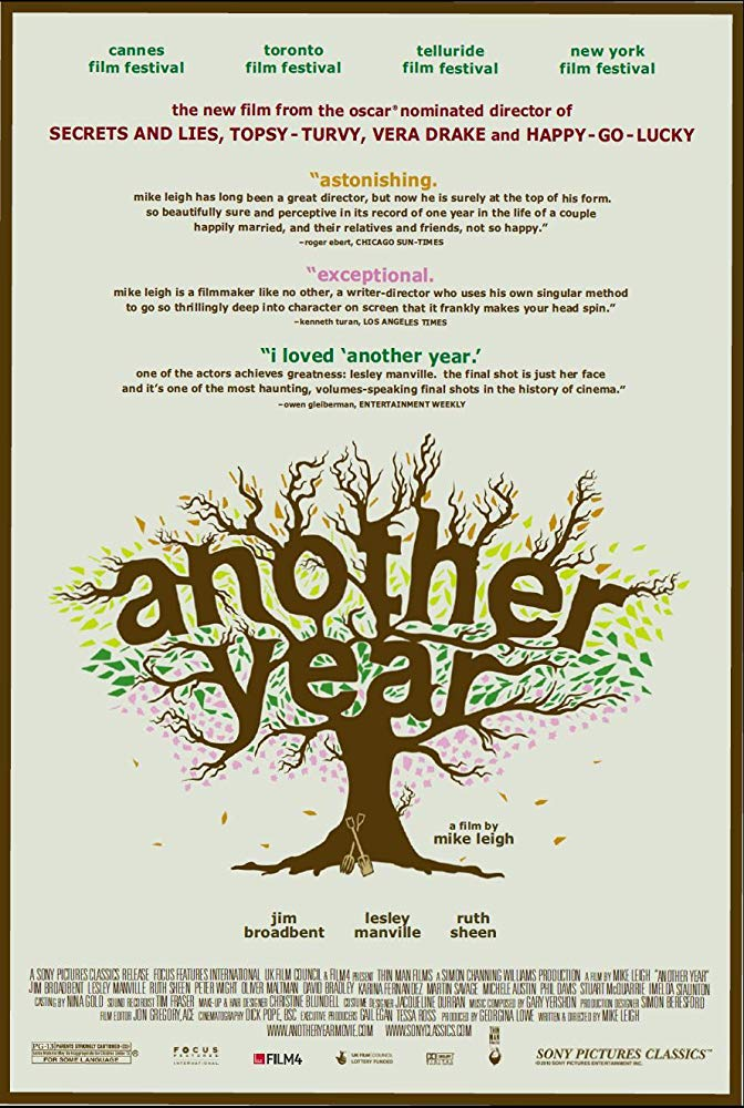 Another Year (2010) - Directed by: Mike LeighStarring: Jim Broadbent, Ruth Sheen, Lesley Manville, Oliver Manville, David Bradley, Karina Fernandez, Imelda StautonRated: PG-13 for Some LanguageRunning Time: 2 h 9 mTMM Score: 4 stars out of 5STRENGTHS: Writing, Acting, ThemesWEAKNESSES: Pacing (?)