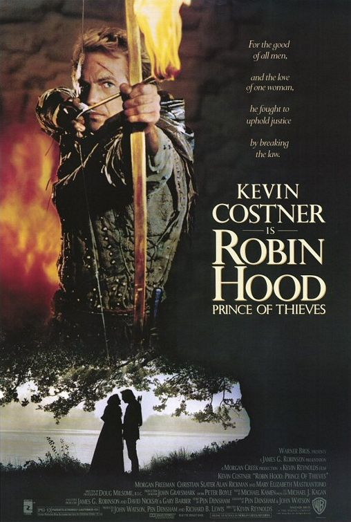 Robin Hood: Prince of Thieves (1991) - Directed by: Kevin ReynoldsStarring: Kevin Costner, Morgan Freeman, Alan Rickman, Mary Elizabeth Mastrantonio, Christian Slater, Brian Blessed, Nick Brimble, Sean ConneryRated: PG-13Running Time: 2 h 35 mTMM Score: 3 stars out of 5STRENGTHS: Fun, Story, Cinematography, Alan RickmanWEAKNESSES: Some Acting, Some Cheesy/ Farfetched Moments