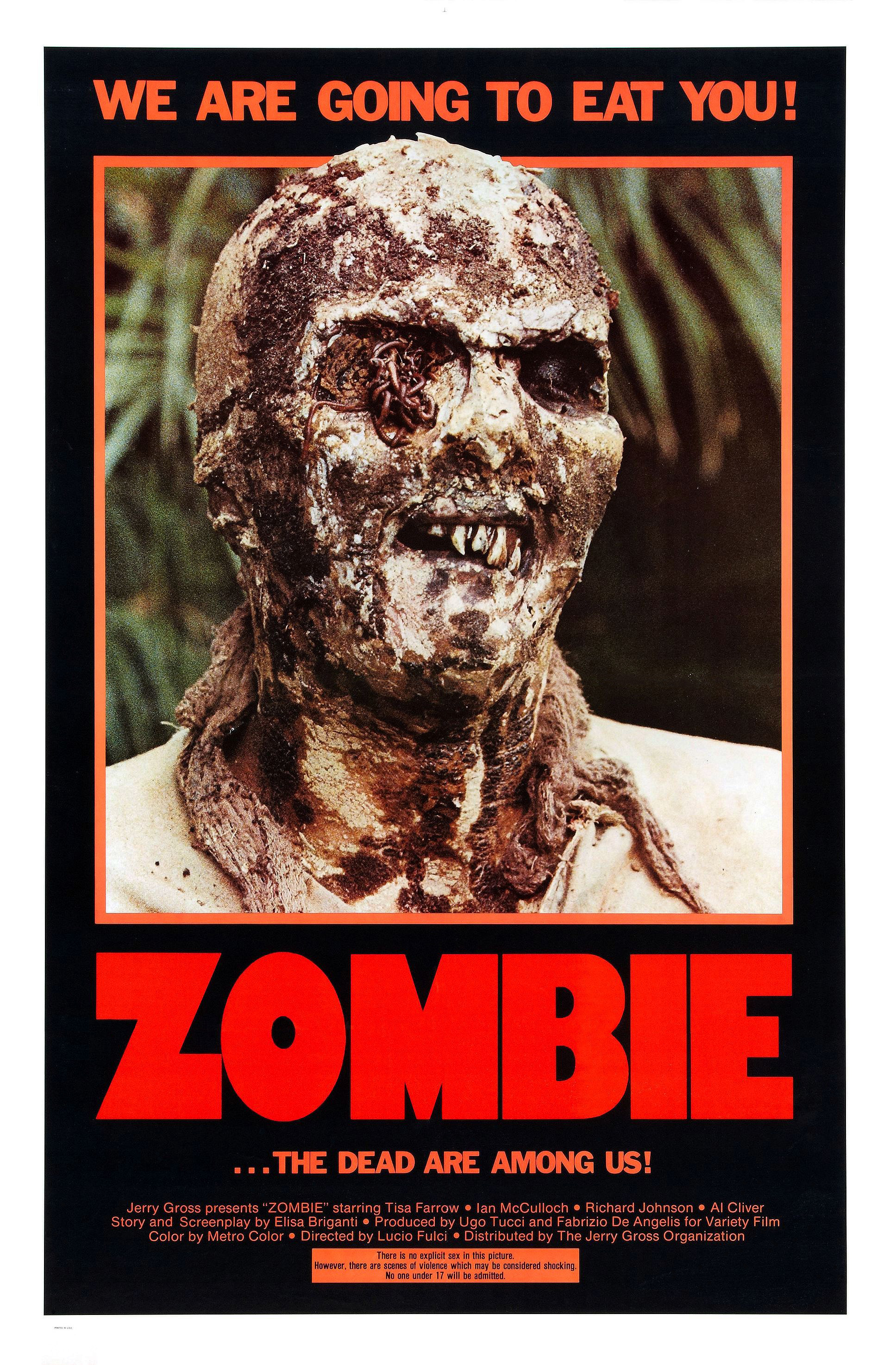 Zombie (1979) - Directed by: Lucio FulciStarring: Tisa Farrow, Ian McCulloch, Richard JohnsonRated: R for Horror Violence/Gore and NudityRunning Time: 1 h 31 mTMM Score: 3 stars out of 5STRENGTHS: Practical EffectsWEAKNESSES: Pacing, Incredibly Stupid Characters, Writing (?)