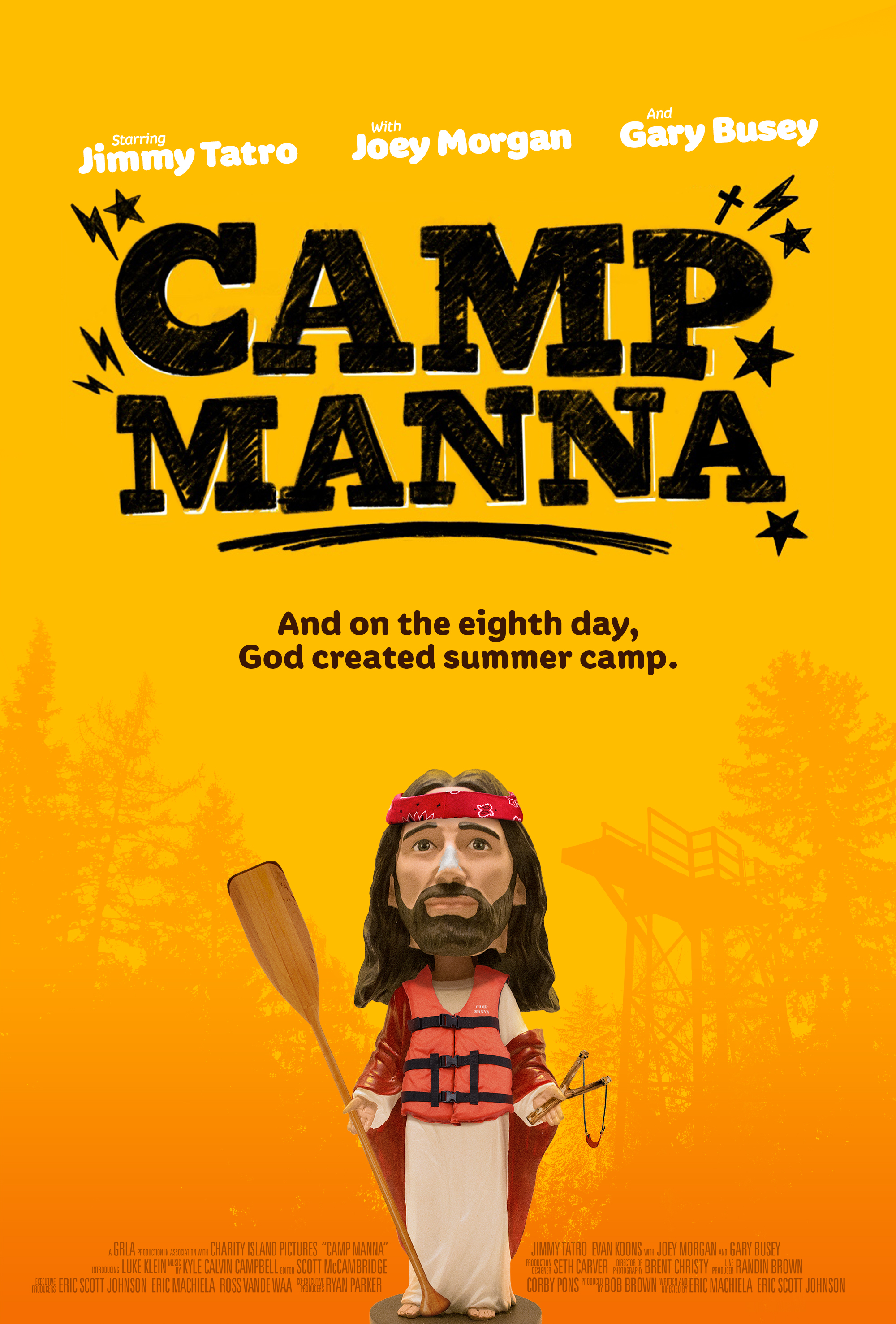 Camp Manna (2018) - Directed by: Eric Scott Johnson, Eric MachielaStarring: Luke Klein, Gary Busey, Evan Koons, Joey Morgan, Jimmy TatroRated: NR (Suggested PG for Some Language and Crude Humor)Running Time: 1 h 31 mTMM Score: 4 stars out of 5STRENGTHS: Writing, Acting, UnconventionalityWEAKNESSES: Might Not Be Appropriate for Younger Children