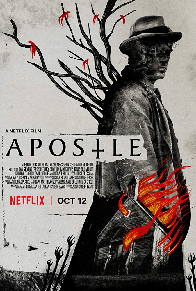 Apostle (2018) - Directed by: Gareth EvansStarring: Dan Stevens, Michael Sheen, Kristine Froseth, Bill MinerRated: NR (Suggested R for Graphic Bloody Violence and Disturbing Material)Running Time: 2 h 10 mTMM Score: 4 stars out of 5STRENGTHS: Writing, Directing, Production Design, Atmosphere, Effects, CinematographyWEAKNESSES: Content Will Deter Some Viewers, Some Plot Holes