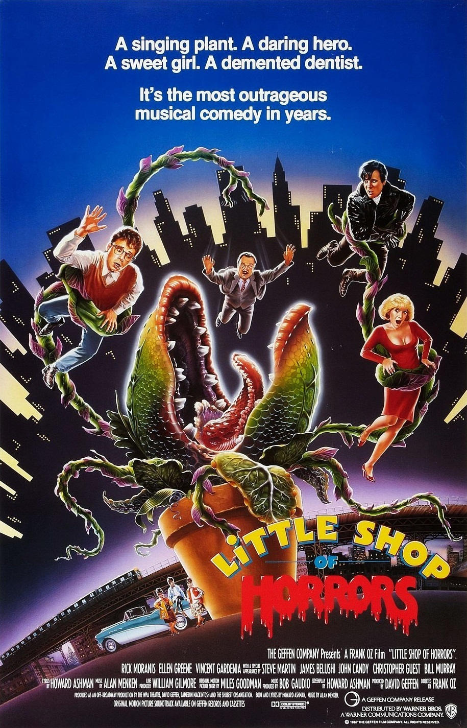 The Little Shop of Horrors (1986) - Directed by: Frank OzStarring: Rick Moranis, Ellen Greene, Vincent Gardenia, Levi Stubbs, Steve Martin, Jim Belushi, John Candy, Bill Murray, Christopher GuestRated: PG-13 for Mature Thematic Material Including Comic Horror Violence, Substance Abuse, Language and Sex ReferencesRunning Time: 1 h 34 mTMM Score: 4 stars out of 5STRENGTHS: Music, Fun, Satire, Story, RidiculousnessWEAKNESSES: Target Audience (?)