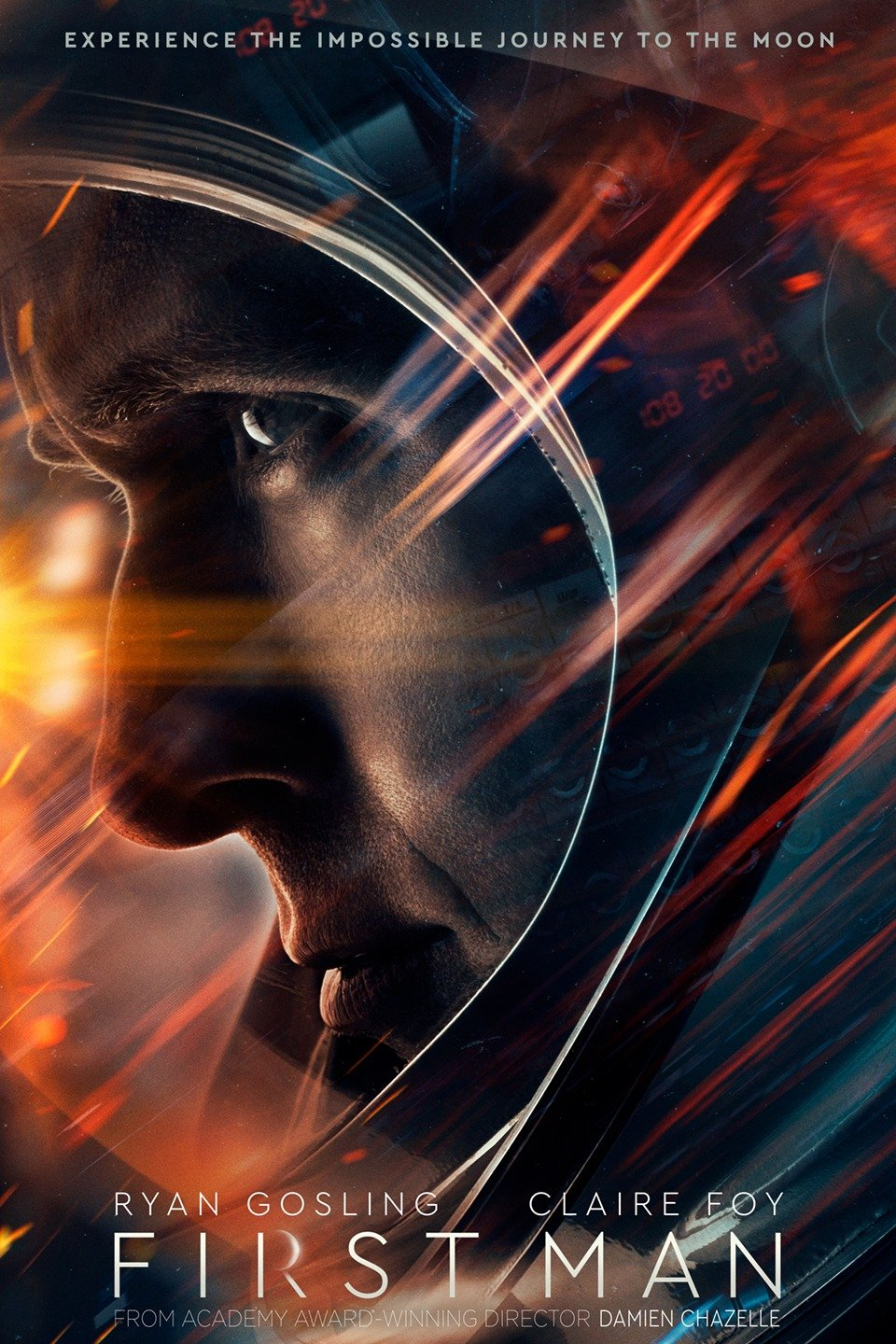 First Man (2018) - Directed by: Damien ChazelleStarring: Ryan Gosling, Claire Foy, Jason Clarke, Pablo Schreiber, Kyle Chandler, Corey Stoll, Christopher Abbot, Ciaran Hinds, Olivia Hamilton, Shea Whigham, Patrick FugitRated: PG-13 for Some Thematic Content Involving Peril, and Brief Strong LanguageRunning Time: 2 h 21 mTMM Score: 5 stars out of 5STRENGTHS: Writing, Directing, Acting, Story, ThemesWEAKNESSES: Cinematography (?)