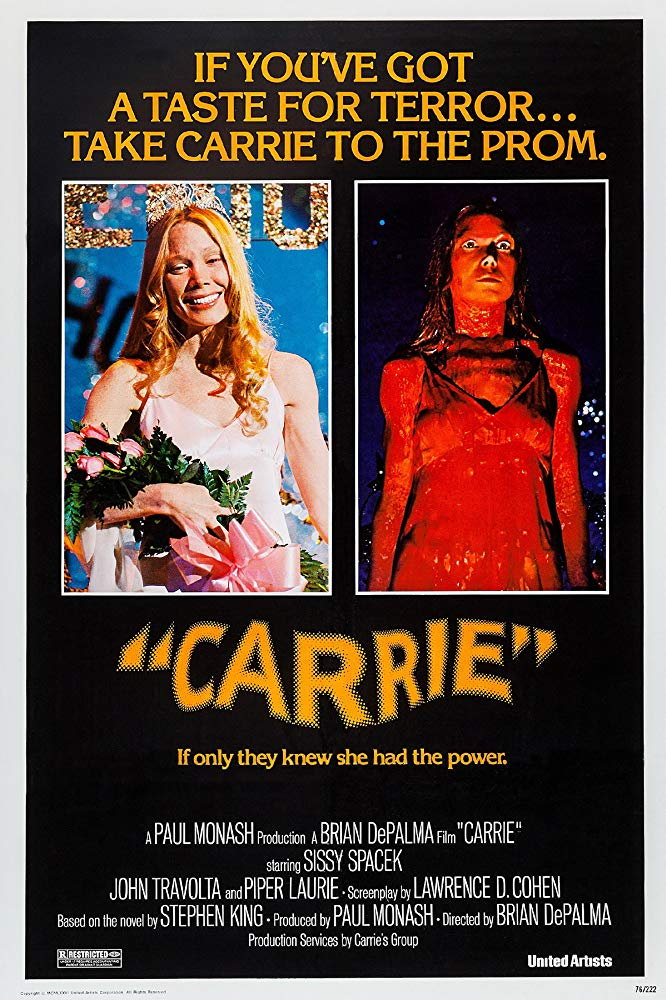 Carrie (1976) - Directed by: Brian DePalmaStarring: Sissy Spacek, Piper Laurie, Amy Irving, William Katt, John Travolta, Nancy Allen, Betty BuckleyRated: RRunning Time: 1 h 38 mTMM Score: 4.5 stars out of 5STRENGTHS: Acting, Directing, WritingWEAKNESSES: -